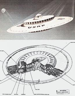 Рисунок летающей тарелки из Нацархива США по образцу устройств Ганса Каммлера