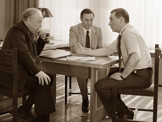 В. Тихонов и Ю. Соломин на съёмках фильма