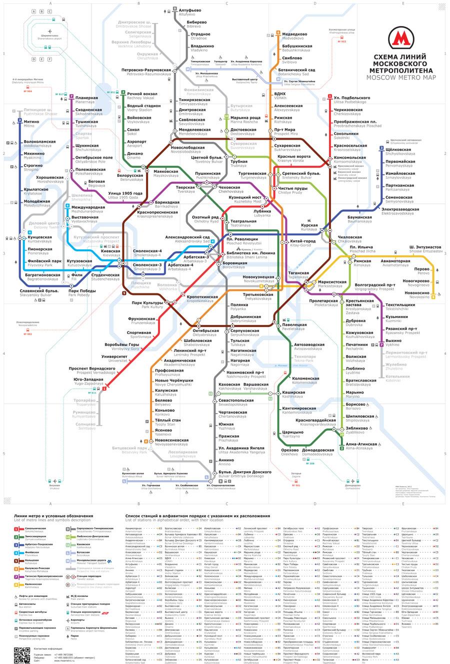 карта схема движения поездов московского метро россия